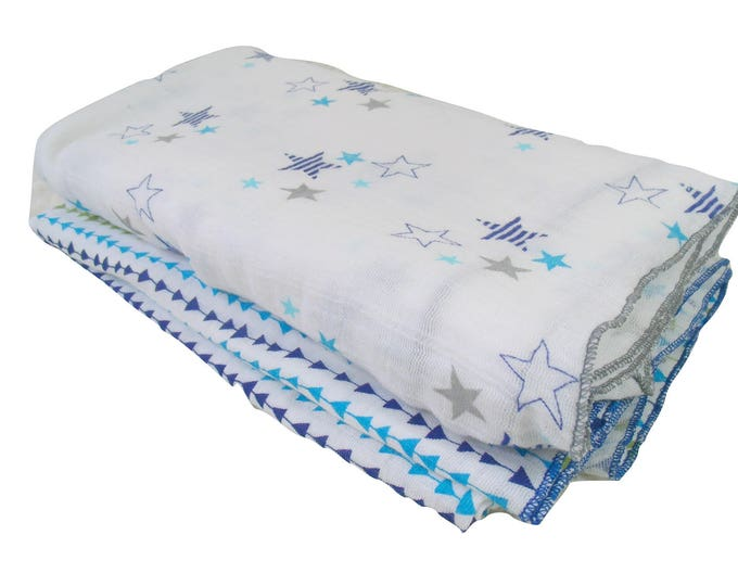 Aqua, Navy and Gray Muslin Cotton Swaddle Blankets, Embroidered Lightweight Cotton Summer Baby Blanket, Gray and White Cotton Baby Blankets