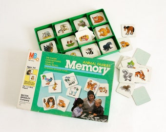 Vintage 1980s Childrens Game, Milton Bradley Animal Families Memory Card Matching Game 1986 Complete, No Reading Required