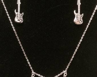 Guitar necklace, guitar earring, guitar music jewlery