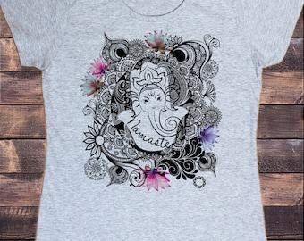 Womens T-Shirt Namaste Ganesh Lotus flowers Yoga meditation Zen print C25-14