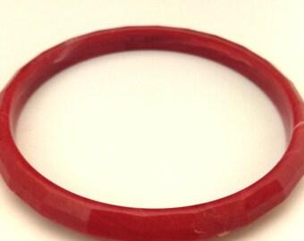 Vintage Red Ruby Faceted Lucite Women Bangle Bracelet