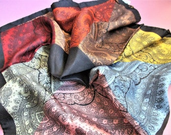 Bloch Freres Color Block Silk Scarf Italian Silk Scarf Pink Green Yellow Red Blue Orange Vintage Designer Scarf Made in Italy 100% Silk