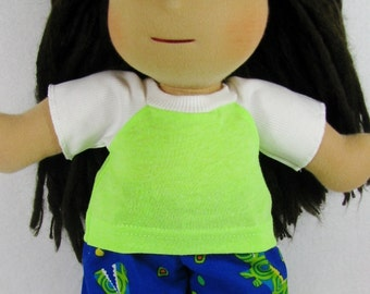 14, 15 inch doll clothing, Waldorf unisex clothes, knit top and alligator pants