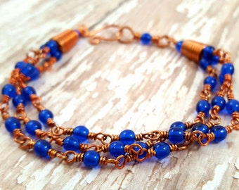 Cobalt Blue Glass Bracelet -  Multi Strand Bracelet - Copper Wire Wrap Bracelet - Bohemian Jewelry - Czech Glass Bracelet - Layered Bracelet