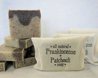 Frankincense & Patchouli Soap - All Natural and Handmade soap, Vegan soap, Made with essential oils and Organic Ingredients