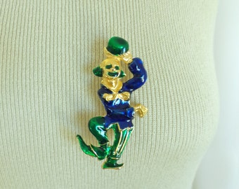 60s clown pin, 1960s circus pin, metal & enamel, gold blue green, novelty kitsch, vintage pin, vintage brooch, costume jewelry, jewellery