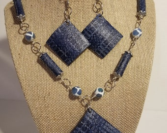 Blue and White necklace & earring set