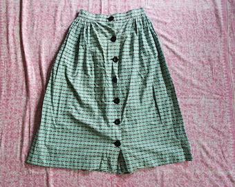 Vintage 1950s Novelty Print Cotton A-Line Skirt - 50s Cotton Button Front Skirt - Novelty Print Fabric