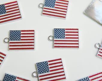 10 USA American Flag enamel charms silver finish 22x15mm DB14968