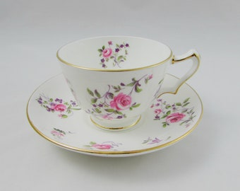 Crown Staffordshire Flower Tea Cup and Saucer, Vintage Bone China