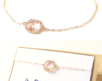 Bridesmaid Jewelry (Peach Champagne / Gold Single Square Bracelet BS1)