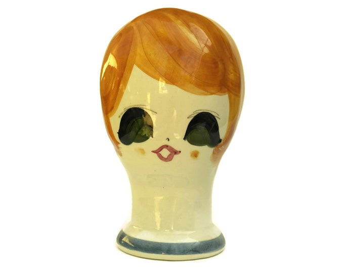 1960s Ceramic Head Mannequin by Quadrifoglio Made in Italy. Mid Century Hat and Wig Display Stand. Retro Home Decor.