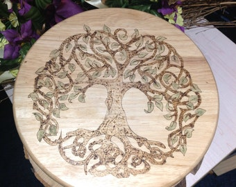 Pyrographed Tree of Life Altar plate
