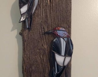 Stained Glass Woodpecker Wall Hanging