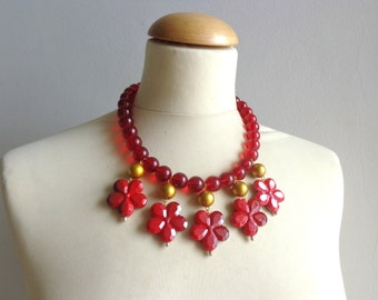 Red flowers statement necklace bib necklace large necklace chunky necklace