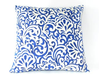 Free shipping/BLUE PILLOW COVER 20x20inches-Waverly Blueberry-Swirly Floral Print-Throw pillow-Decorative pillow-Sofa pillow-Accent-Handmade