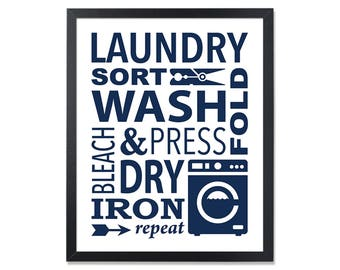 Laundry room ideas Navy Laundry Poster Room Art Wash Dry Fold Laundry Room Decor Sign Laundry Wall Decor Laundry design Laundry printable