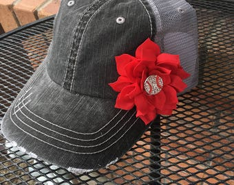 Denim trucker Hat, womens hat, red flower hat levi distressed hat, denim hat black hat, baseball hat, baseball cap, womens trucker