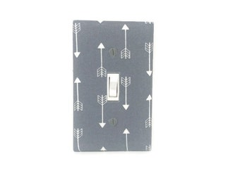 Tribal Switch Plate Cover - Arrows Light Switch Cover - Grey Arrows Nursery Decor