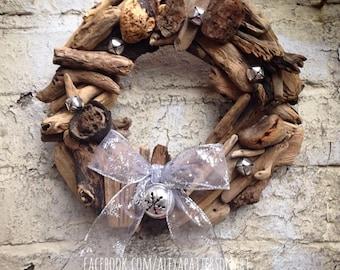 Driftwood wreath, Christmas wooden wreath, driftwood Christmas wreath