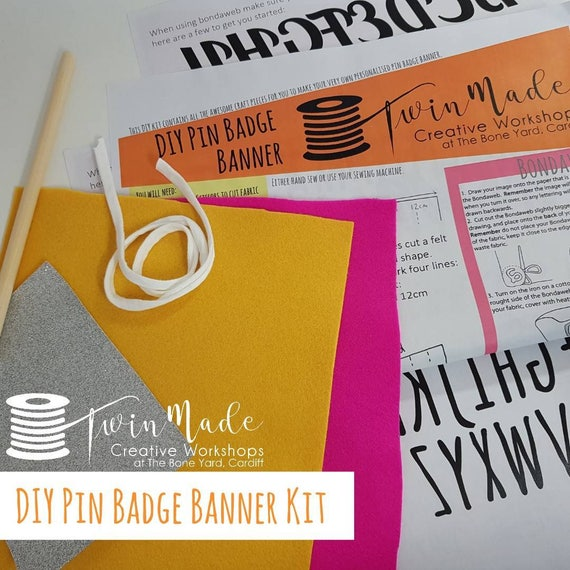 Diy pin badge banner kit perfect to display pin badges diy pin badge banner kit perfect to display pin badges earrings and jewellery make it yourself craft kit includes glitter fabric solutioingenieria Image collections