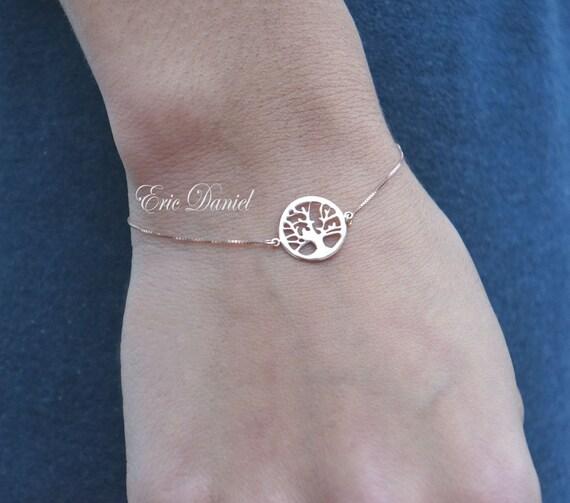 14k Rose Tree of Life Bracelet Gold Family Tree Bracelet 14k