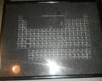 Periodic Table engraved in glass.