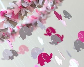 Pink Gray Nursery Elephant Mobile- Baby Shower Gift, Nursery Decor