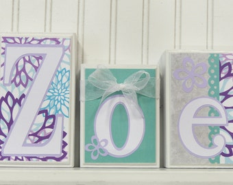 Name Blocks, Routed Edge, Personalized Wooden Letters , Purple Teal, Flowers, Custom Wooden Letter Baby Blocks Little Girls Room Decor