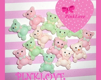 Pastel Resin Bear Cabochon Kawaii Decoden Cabochons 5 pcs set Pastel Bears Mix 21mm  Flatback