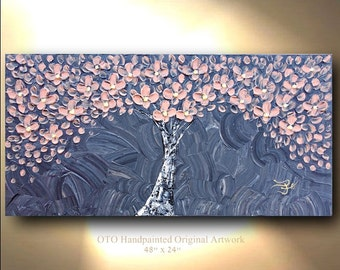 Original Tree Painting Grey and Coral Floral landscape Abstract Paintings Canvas Art Oil Painting Wall Decor reflective Artwork by OTO
