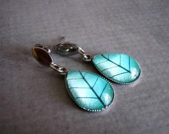 Teal Leaf Earrings : Glass Drop Jewelry