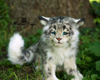 MADE TO ORDER!100% Handmade.Snow Leopard cub!