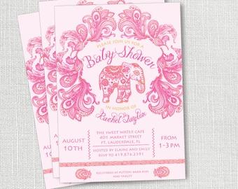 Indian Elephant Baby Shower Invitation, Printable, Girl Baby Shower Invite, Pink And Orange, Paisley, Ballywood, Boho, Henna, Seemantham