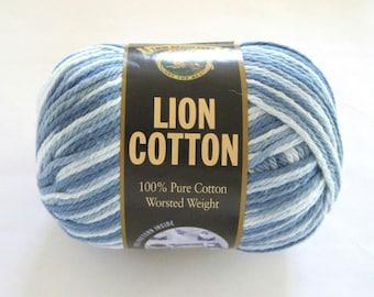 Lion Cotton Yarn Blue Denim Swirl Lion Brand Craft Supplies