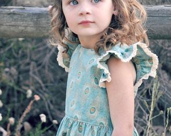 Vintage Grace, Flutter Dress, PDF Sewing Pattern, girls flutter dress, flutter sleeve dress, toddler floral dress, low back dress, sewing