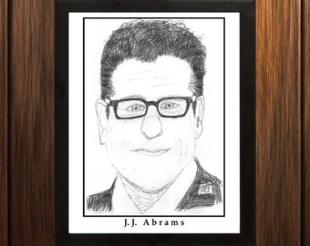 J.J. Abrams - Sketch Print - 8.5x11 inches - Black and White - Pen - Caricature Poster