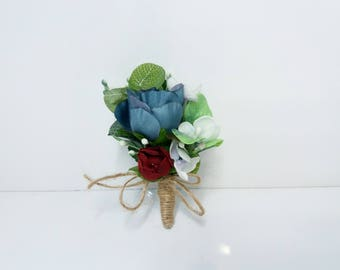 Blue Burgundy boutonnieres,Rustic boutonniere,Groom Groomsmen buttonhole,Winter wedding,Rustic Boutonniere,Boho boutonniere wedding