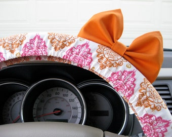 Steering Wheel Cover Bow, Burnished Orange and Pink Damask Steering Wheel Cover with Bright Orange Bow BF11038