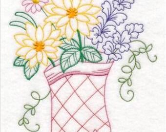 Embroidered Kitchen Towels, Tea Towels, Housewarming Gift, Kitchen Oven Mitt in Bloom (Vintage)Towel