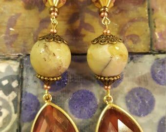 Rose bronze faceted dangle earrings