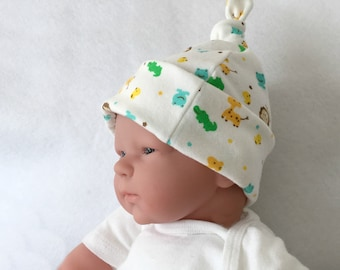 Organic baby hat, newborn knot hat, infant hospital hat, animal baby knot hat, newborn hospital hat, organic infant hat
