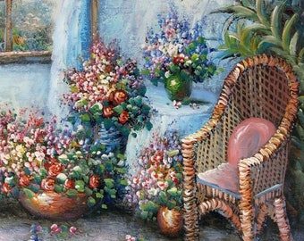 Balfour Original Oil Canvas Impressionist Painting Flowers Sun Room Unstretched