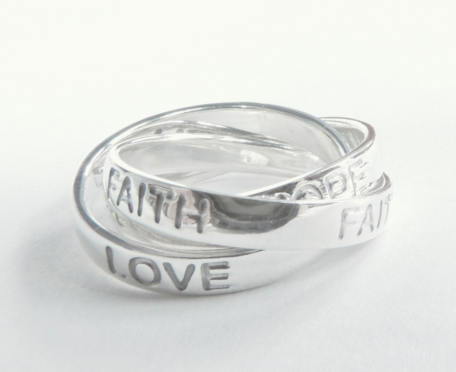 Sterling Silver Ring Jewelry Love Ring with Hope Faith Love