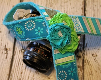 Cute Camera Strap. Camera Strap. Blue Lime Camera Strap. dSLR Camera Strap. Padded Camera Strap. Custom Camera Strap. Fashion Camera Strap