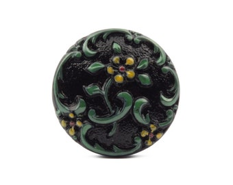 Czech vintage glass button 23mm green yellow hand painted black flower glass button