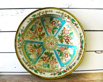 Vintage Decorative Metal Bowl, Decorated Chinoiserie Tin in Turquoise Red and Gold