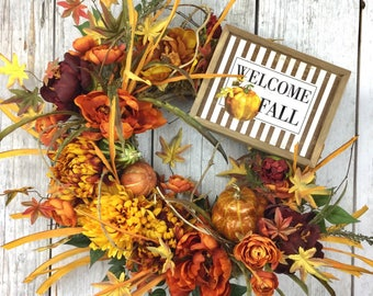Front Door Fall Wreaths, Fall Dahlia Wreath, Wreaths for Front Door, Thanksgiving Wreath, Welcome Fall Wreaths, Fall Pumpkin Wreathes