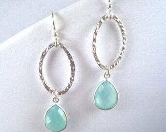 Aqua Chalcedony Earrings, Chalcedony Long Double Drop Sterling Earring, Dangle, Teardrop, Aqua Mint Chalcedony Earring,