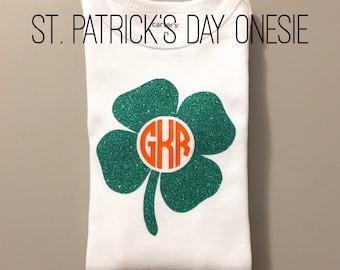 Monogrammed Shamrock Onesie | St. Patrick's Day Onesie